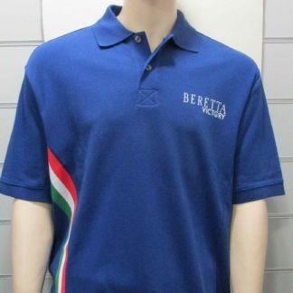 Polo BERETTA bleu clair, drapeau Italien