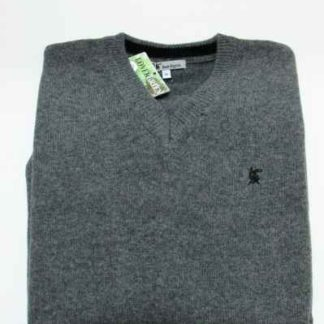 Pull lambswool gris foncé col V